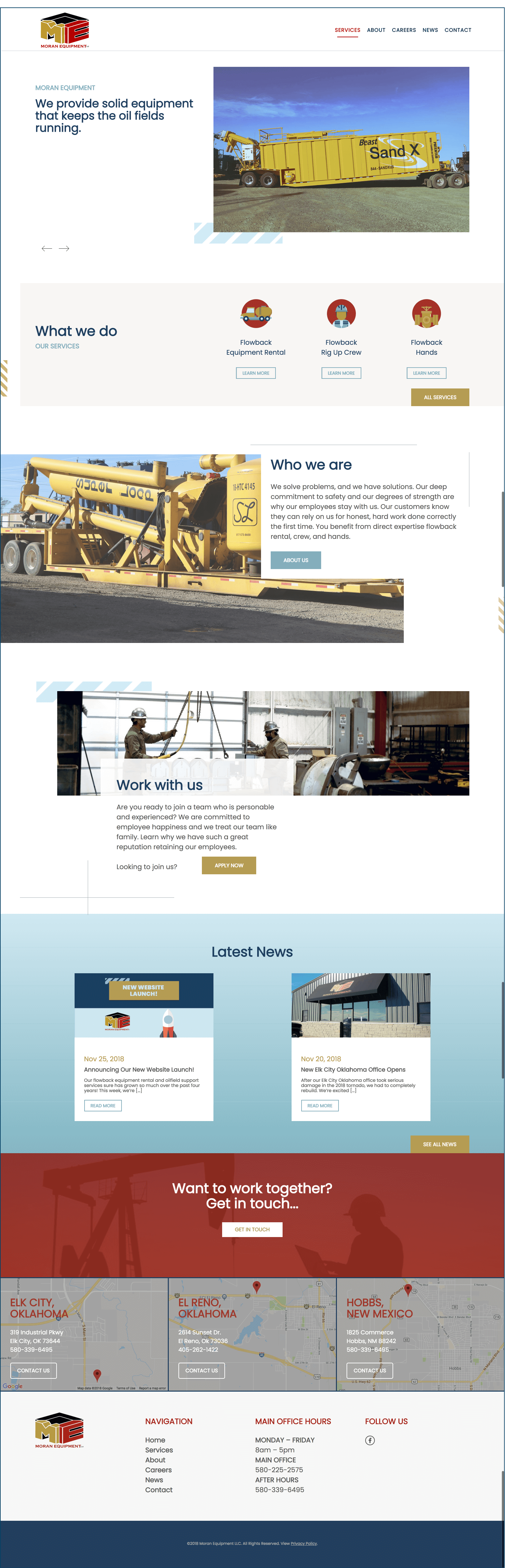 website redesign for Moran Equipment in Elk City Oklahoma by Wooster Creative